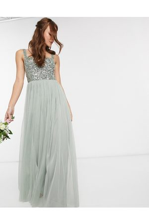 Maya Women Maxi Dresses - Bridesmaid sleeveless square neck maxi tulle dress with tonal delicate sequin overlay in sage