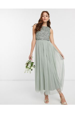 Maya Bridesmaid sleeveless midaxi tulle dress with tonal delicate sequin overlay in sage