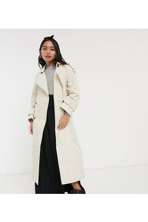 ASOS ASOS DESIGN Petite longline trench coat in stone