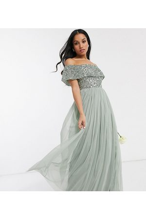 Maya Bridesmaid bardot maxi tulle dress with tonal delicate sequins in sage