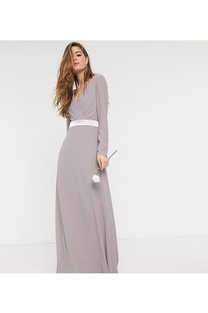 TFNC Bridesmaids long sleeve bow back maxi dress dress in