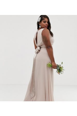 TFNC Bridesmaid exclusive bow back maxi in mink