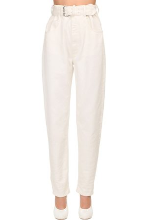 Maison Margiela Women High Waisted - High Waist Belted Cotton Denim Jeans