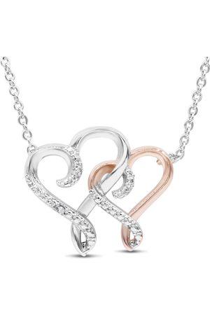 SuperJeweler One Diamond Two Tone Heart Necklace
