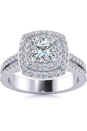 SuperJeweler Women Rings - 1.5 Carat Double Halo Cushion Cut Diamond Engagement Ring in 14K (5.7 g) (