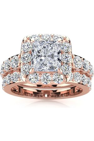SuperJeweler 3 1/2 Carat Radiant Cut Halo Diamond Bridal Engagement Ring Set in 14k (9.4 g) (