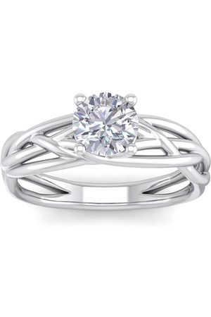 SuperJeweler Women Rings - 1 Carat Round Moissanite Solitaire Intricate Vine Engagement Ring in 14K (5 g)
