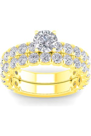 SuperJeweler Women Rings - 3 1/4 Carat Round Diamond Bridal Ring Set in 14K (6 g) (