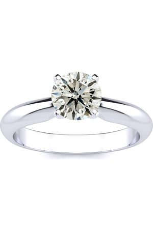 SuperJeweler Women Rings - 1 Carat Round Diamond Solitaire Ring in 14k (