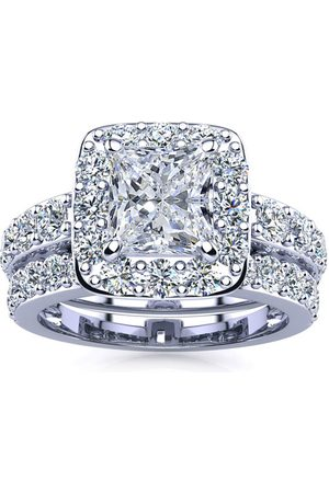 SuperJeweler Women Rings - 3 1/2 Carat Radiant Cut Halo Diamond Bridal Engagement Ring Set in 14k (9.4 g) (