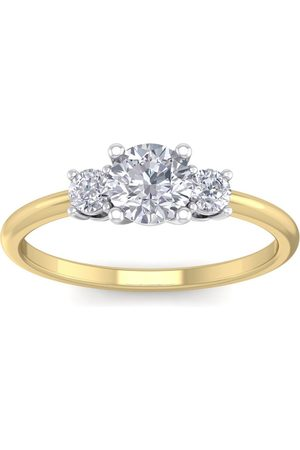 SuperJeweler 1 Carat Natural Colorless 3 Diamond Engagement Ring Featuring a .75 Carat Center Diamond in Solid 14k (2 g)