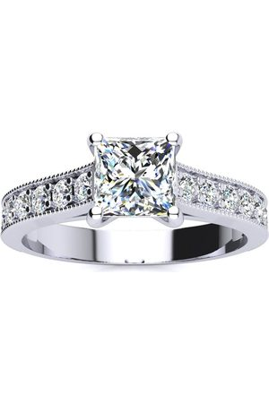 SuperJeweler 1.5 Carat Solitaire Engagement Ring w/ 1 Carat Princess Cut Center Diamond in 14K (3.7 g) (
