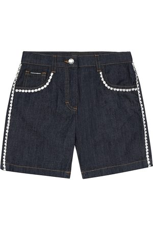 Dolce & Gabbana Crystal-embellished denim shorts