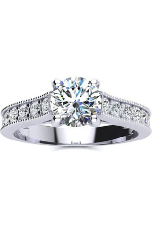 SuperJeweler Women Rings - 1.5 Carat Round Solitaire Engagement Ring w/ 1 Carat Center Diamond in 14K (3.7 g) (