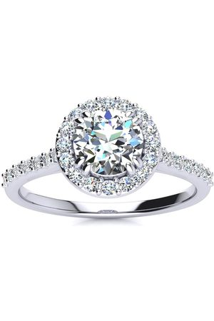 SuperJeweler 1 Carat Round Halo Diamond Engagement Ring in 14K (3.5 g) (