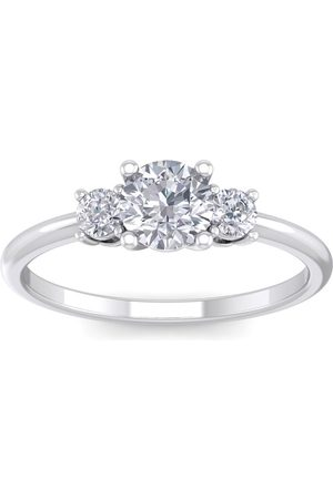 SuperJeweler 1 Carat Natural Colorless 3 Diamond Engagement Ring Featuring a .75 Carat Center Diamond in Solid 14k (2 g) (E-F