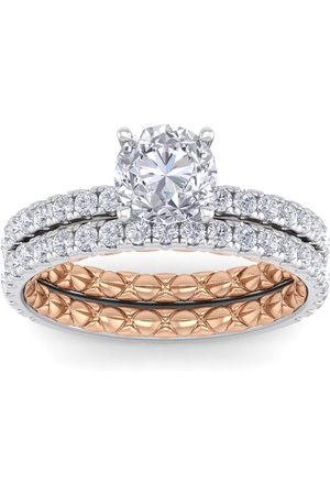 SuperJeweler Women Rings - 2 Carat Round Shape Diamond Bridal Ring Set in Quilted 14K White & (5.30 g) (