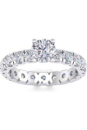 SuperJeweler 3 Carat Round Shape Diamond Eternity Engagement Ring in 14K (3 g) (
