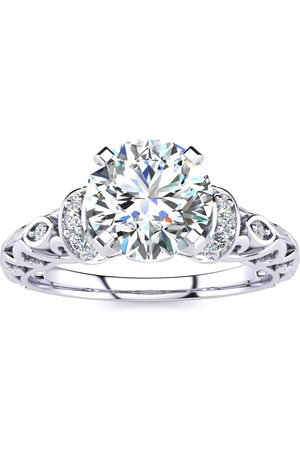 SuperJeweler Women Rings - 1.25 Carat Vintage Moissanite Engagement Ring in 14K (3.20 g)