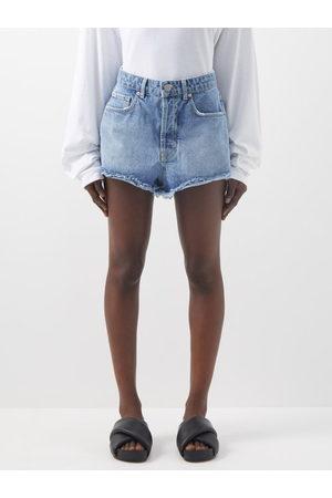 Raey Tahiti Frayed-hem Denim Shorts - Womens - Light
