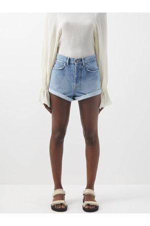 Raey Women Shorts - Rivet Cut-off Denim Shorts - Womens - Light