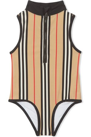 Burberry Icon stripe zip-front swimsuit - Neutrals