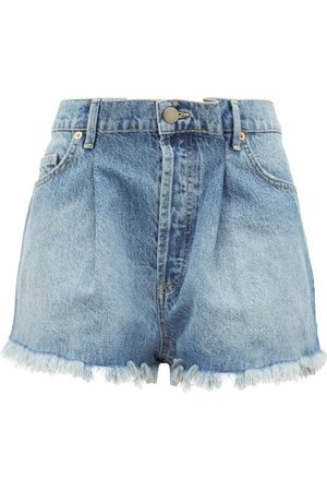 Raey Women Shorts - Fold Raw-hem Denim Shorts - Womens - Light