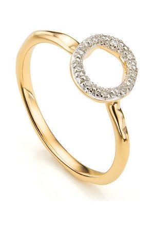 Monica Vinader Gold Riva Mini Circle Stacking Ring Diamond
