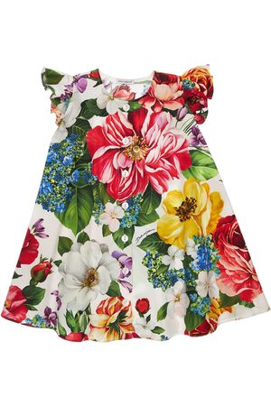 Dolce & Gabbana Flower Print Cotton Poplin Dress