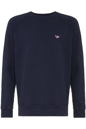Maison Kitsuné Logo embroidered long-sleeved sweatshirt