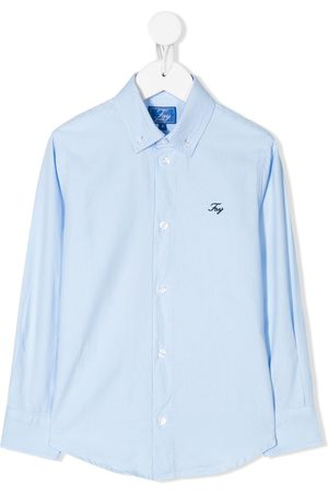 Fay Kids Logo-embroidered button down shirt