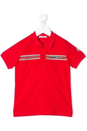 Moncler Boys Polo Shirts - Short sleeve knitted-logo polo shirt