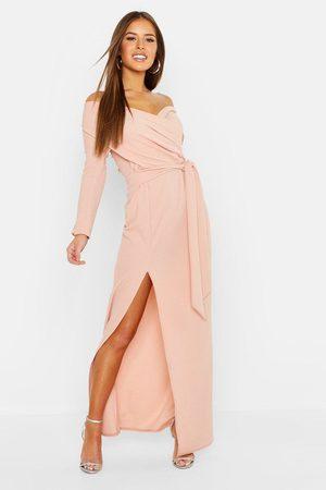 Boohoo Womens Petite Off The Shoulder Split Maxi Dress - - 2
