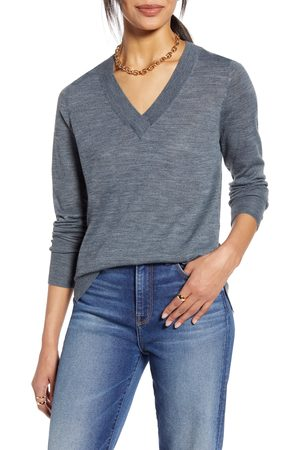 Halogen Women's Halogen V-Neck Merino Wool Blend Sweater
