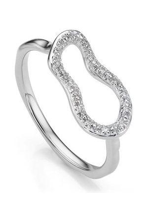 Monica Vinader Sterling Silver Riva Mini Pod Ring Diamond