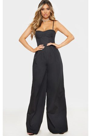 PRETTYLITTLETHING Corset Strappy Wide Leg Jumpsuit
