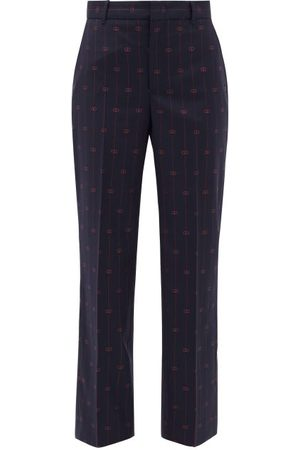 Gucci Gg-jacquard Wool Straight-leg Trousers - Womens - Multi