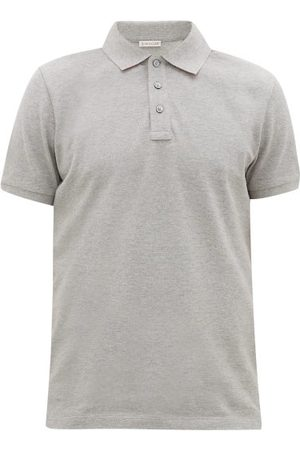 Moncler Men Polo Shirts - Logo-plaque Cotton-piqué Polo Shirt - Mens - Grey