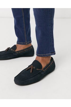 ASOS Driving shoes in navy suede with lace detail
