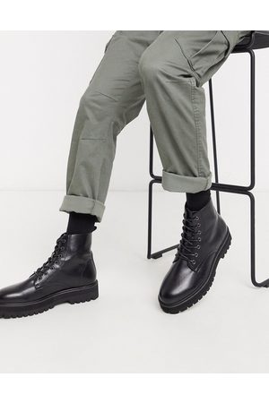 ASOS Lace up boot in faux leather with raised chunky sole