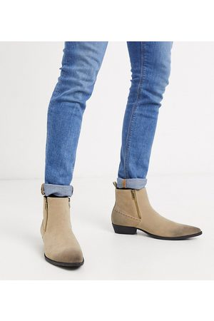 ASOS Wide Fit stacked heel western chelsea boots in stone faux suede with zips-Neutral