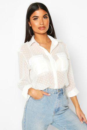 Boohoo Womens Petite Dobby Mesh Shirt - - 2