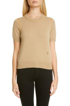 Burberry Women's Constance Tb Monogram Piped Cashmere Sweater