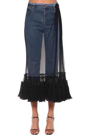 ACT N°1 Tulle Embellished Crop Denim Jeans