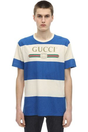 Gucci Stripes Logo Print Cotton Jersey T-shirt