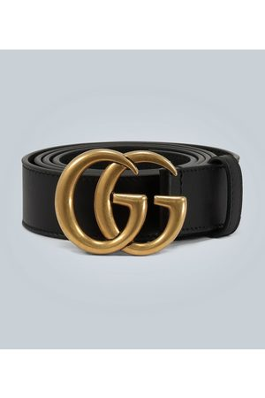 Gucci Men Belts - Leather belt with Double G buckle
