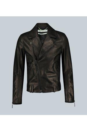 OFF-WHITE Arrow-print leather biker jacket