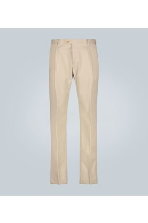 CARUSO Double-pleated stretch-cotton pants