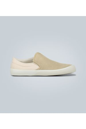 Maison Margiela Suede and canvas slip-on sneakers
