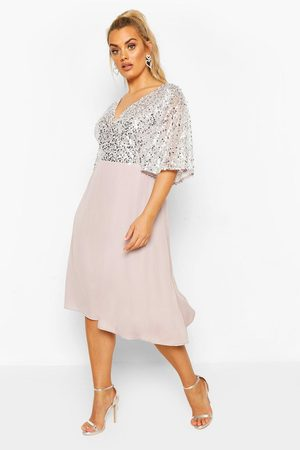 Boohoo Womens Plus Occasion Sequin Angel Sleeve Midi Dress - - 12